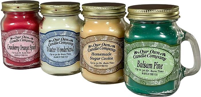 Our Own Candle Company 4 Pack Christmas Assortment Mini Mason Jar Candles - 3.5 Oz Balsam Pine, 3.5 Oz Cranberry Orange Spice, 3.5 Oz Homemade Sugar Cookie, 3.5 Oz Winter Wonderland