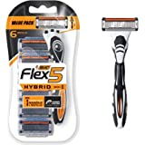 BIC BIC Flex 5 Hybrid Men's 5-Blade Disposable Razor, 1 Handle and 6 Cartridges, 6 count (SX9AZ006-BLK)