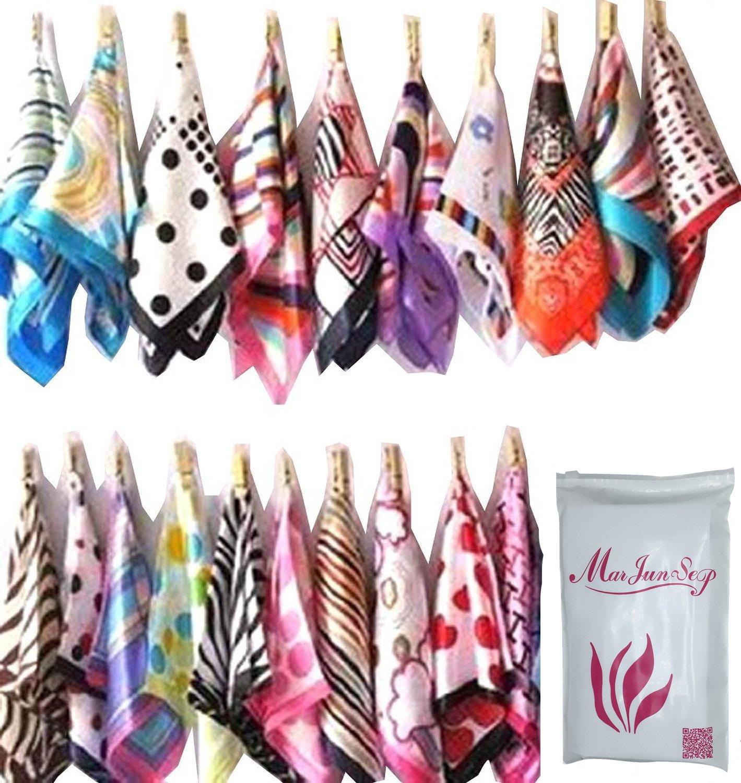 10pcs Mix Style Silk Feel Square Neck Hand Hat Purse Bag Sash Hair Scarf Shawl Wrap