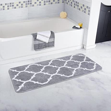 Homcomoda Microfiber Bathroom Shower Rug Geometric Bath Mats Washable Kitchen  Floor Mats 17.72 By 47.24