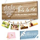 Home Decor New Home Gifts -This is Us- Home Sign for Rustic Farmhouse Wall Living Room with Clips and Twine for Picture Hangi