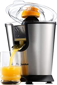 Eurolux Electric Citrus Juicer Squeezer, for Orange, Lemon, Grapefruit, With 160 Watts of Power, Brushed Stainless Steel