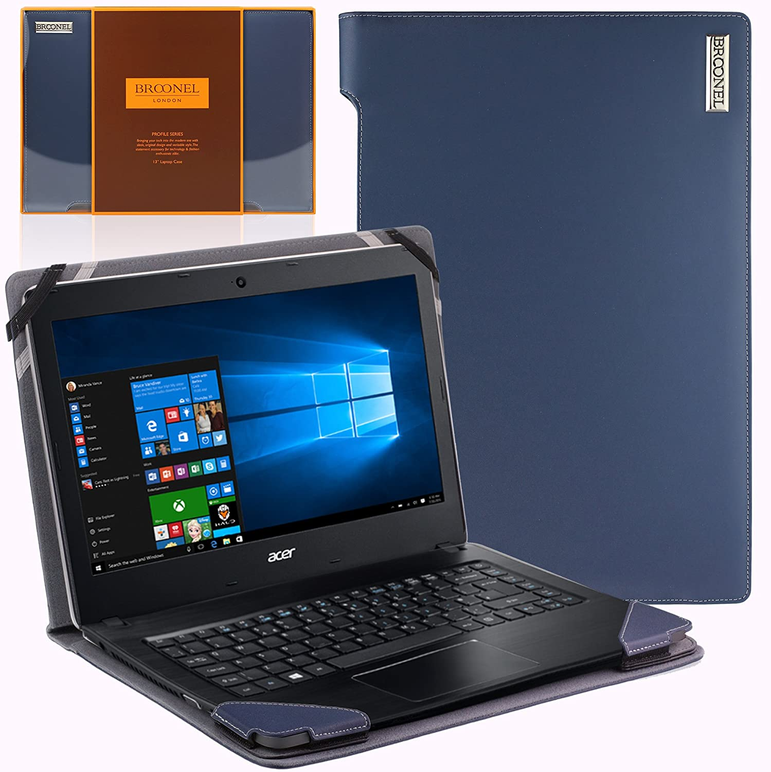 """Broonel London - Profile Series - Blue Vegan Leather Luxury Laptop Case Cover Sleeve Compatible with The Acer Travelmate P2 Series P249 / Acer TravelMate P256-M/Acer Travelmate P253-M 15.6"""""""
