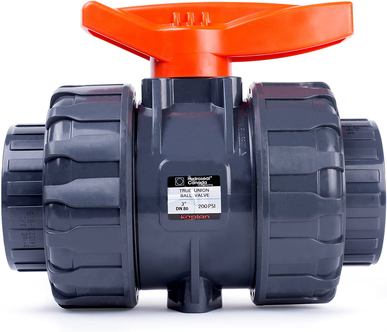 "HYDROSEAL Kaplan 3"" PVC True Union Ball Valve with Full Port, ASTM F1970, EPDM O-Rings and Reversible PTFE Seats, Rated at 200 PSI @73F, Gray, 3 inch Socket"