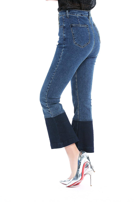 Mallda Womens Denim Stretchy Contrast Block FLARE /& SKINNY Bell Bottom Ninth Jeans