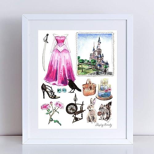 eda0ddea2e7ec Amazon.com: Sleeping Beauty Princess Aurora Art Print Watercolor ...