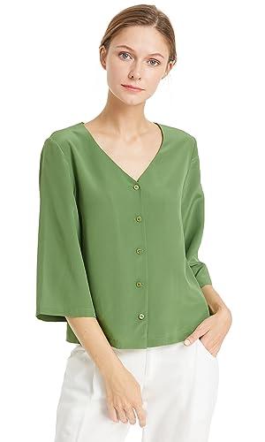 Lilysilk Camisa Mujer Casual Blusa Escote V 100% Seda de Mora Natural DE 18 Momme Ligera y Suave