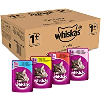 Whiskas 1+ Cat Food Pouches Mixed Selection in Jelly, 100 g (Pack of 84)
