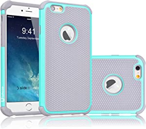 iPhone 6S Case, Tekcoo(TM) [Tmajor Series] iPhone 6 / 6S (4.7 INCH) Case Shock Absorbing Hybrid Best Impact Defender Rugged Slim Cover Shell w/Plastic Outer & Rubber Silicone Inner [Turquoise/Grey]