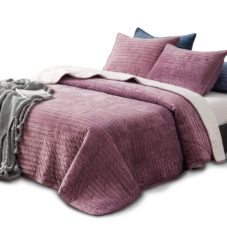 KASENTEX Plush Poly Velvet Lavish Design Quilt Set with Reversible Shu Velveteen Sherpa - Luxurious Bedding Soft & Warm Comforter Machine Washable Comforter (Rosy Mauve, King + 2 Shams)
