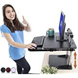 Stand Steady The UpTrak Metro Standing Desk & Bonus Keyboard Tray | Sit-to-Stand Desk Converter by Award-Winning Spring-Assisted LIFT! Height Adjustable Sit Stand Desk for Cubes & Offices! (Black)