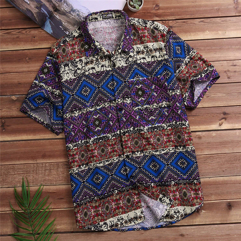 Mens Beach Hawaiian Shirt Tropical Shirt Men Casual Loose Cotton Button Down Shirts,Purple,XL