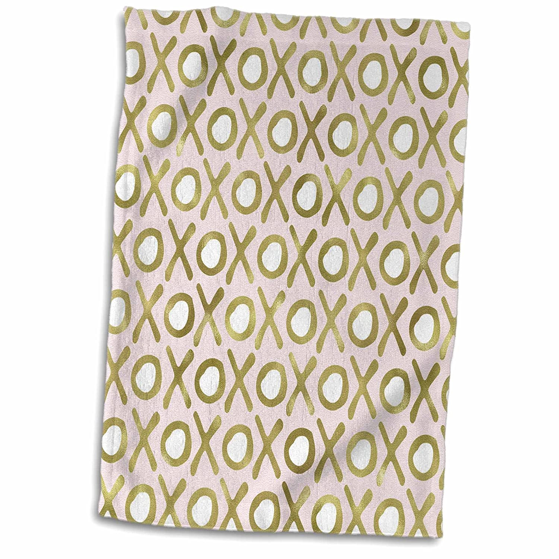 3dRose Gold Faux Glitter Black White Stripes Towels 15 x 22