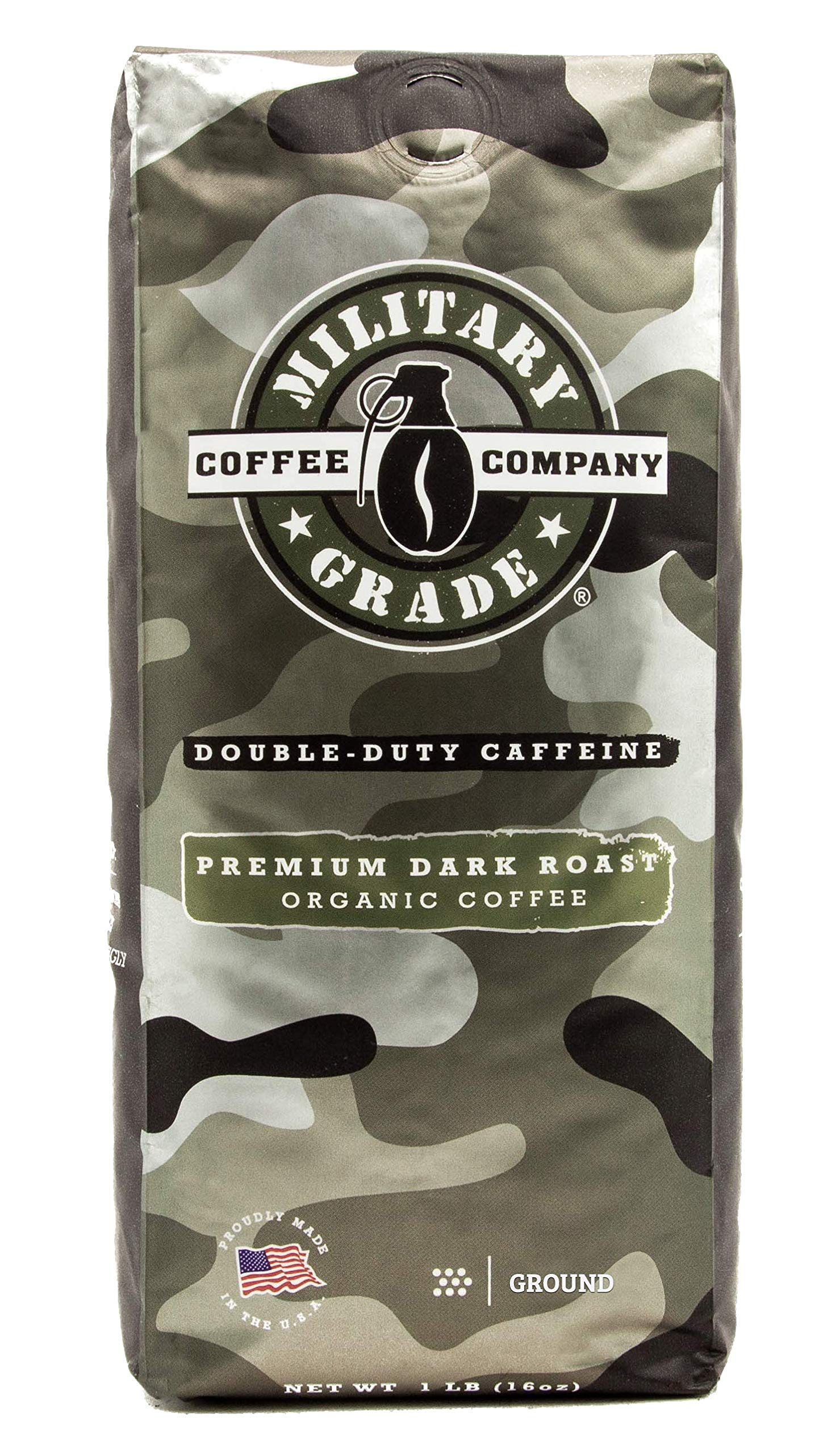 Military Grade Ground Coffee, The Strongest Coffee On The Planet, Organic - 16 Oz. Bag (1 BAG) by Military Grade Coffee Company