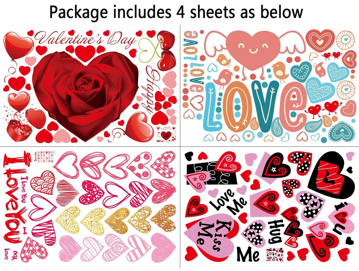 Amazon.com: 140 PCS Valentineu0027s Day Window Clings Heart Stickers Decal    Party Decorations Supplies: Home U0026 Kitchen