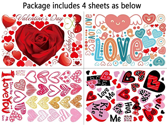 Amazon.com: 140 PCS Valentine\'s Day Window Clings Heart Stickers ...