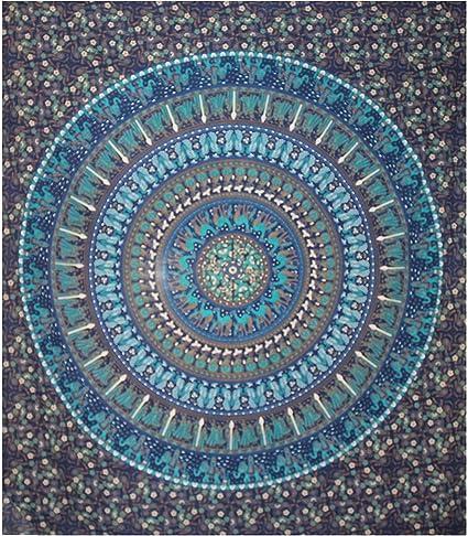 hippie Bohemian Bedding Home Decor Psychedelic indiano etnico tradizionale copriletto tovaglia 140 X 210 cms Mahroon Camel Elephant Raajsee arazzo da parete pavone Mandala