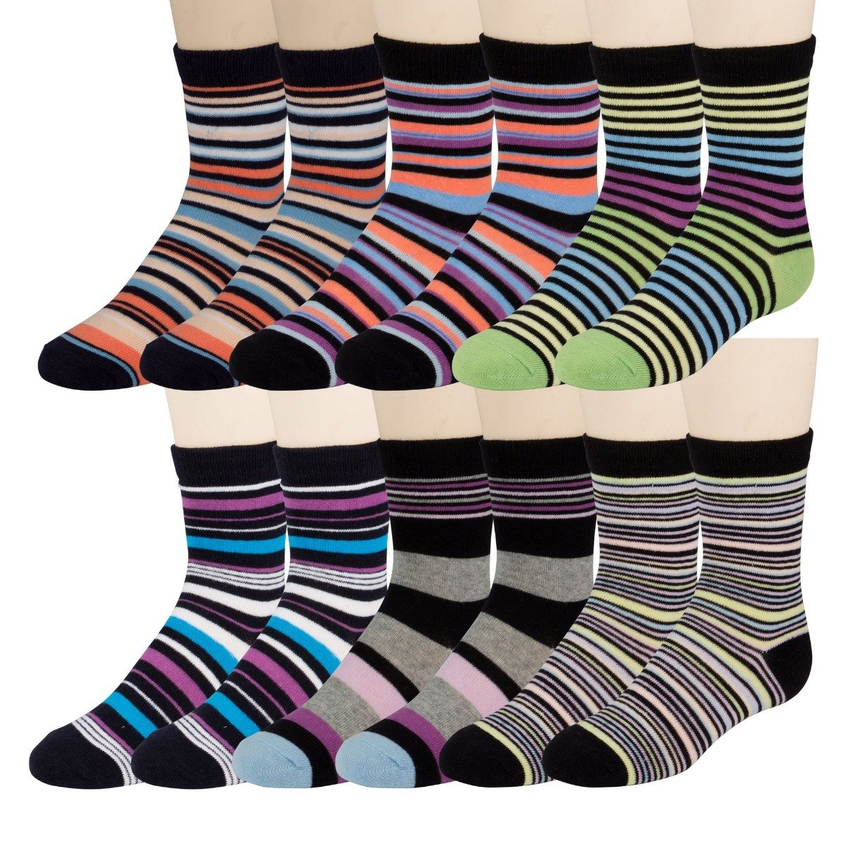 12 Pairs excell Boys Dress Socks, 12 pairs, Striped Colorful Fancy Cotton Socks Striped Colorful Fancy Cotton Socks (6-7) 8432_6-7