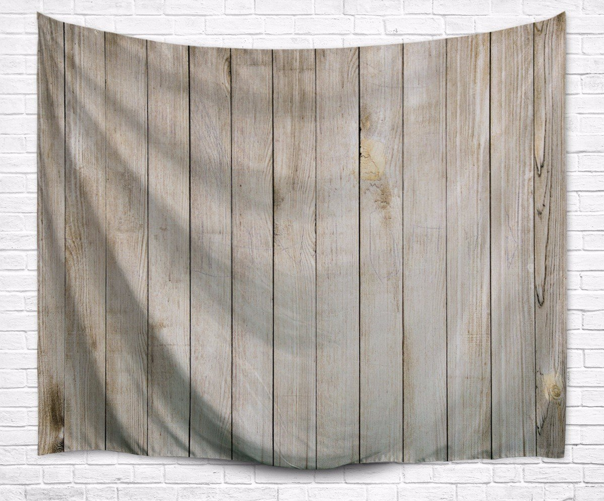 A.Monamour Vintage Light Brown Vertical Planks Floor Wood Texture Print Textile Fabric Wall Hanging Tapestry Wall Art Decoration for Home Accessories 153x229cm/60''x90''
