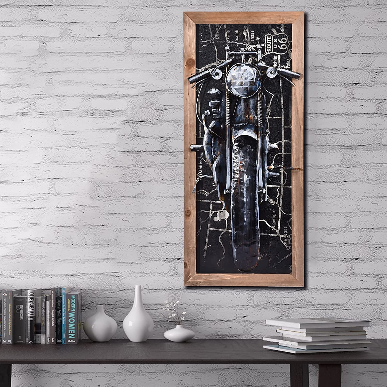 SunBlogs Art 3D Metal Wall Art Hand-painted Oil Paintings Motorbike Wall Decor, Cabin Decor Large Handmade Motorcycle Sculpture for Living Room Bedroom Kitchen Decorations (Style 2)