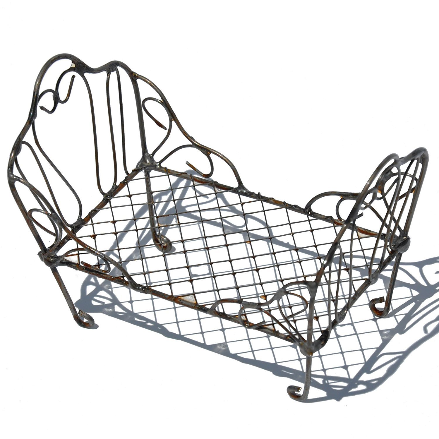 Miniature Fairy Garden Accessories - Elegant, Metal Scrolled Day Bed - Measures 4 Inches Long