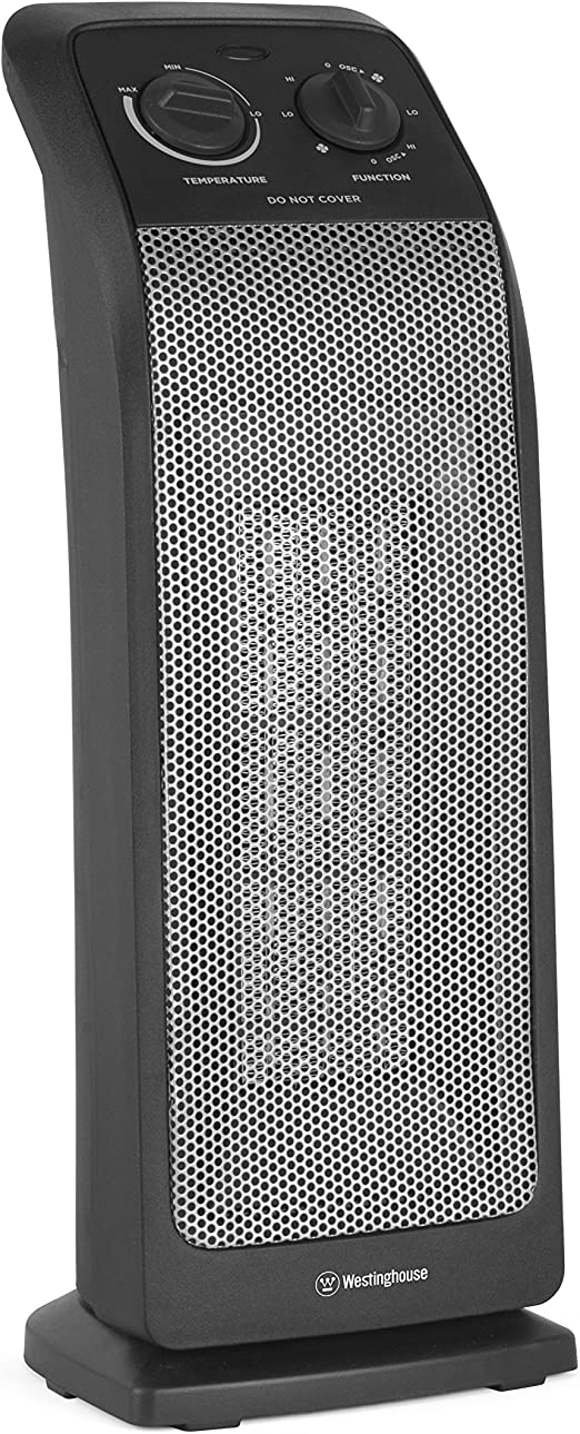 "Ceramic Space Heater Energy Efficient Personal Tower Oscillating 19/"" Westinghous"