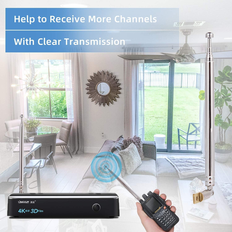 moinkerin 2 Piezas Reemplazo Antenas de Radio, Antena Telescopica para TV FM AV Receiver, 7 Secciones