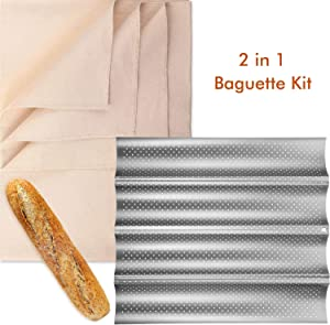 Bread Baking Kit, Nonstick Perforated Baguette Pan and Bakes Dough Couche, French Bread Loaf Bake Mold Oven Toaster Pan, Large Cotton Pastry Proofing Cloth for Baking Bread Use (L, Silver)
