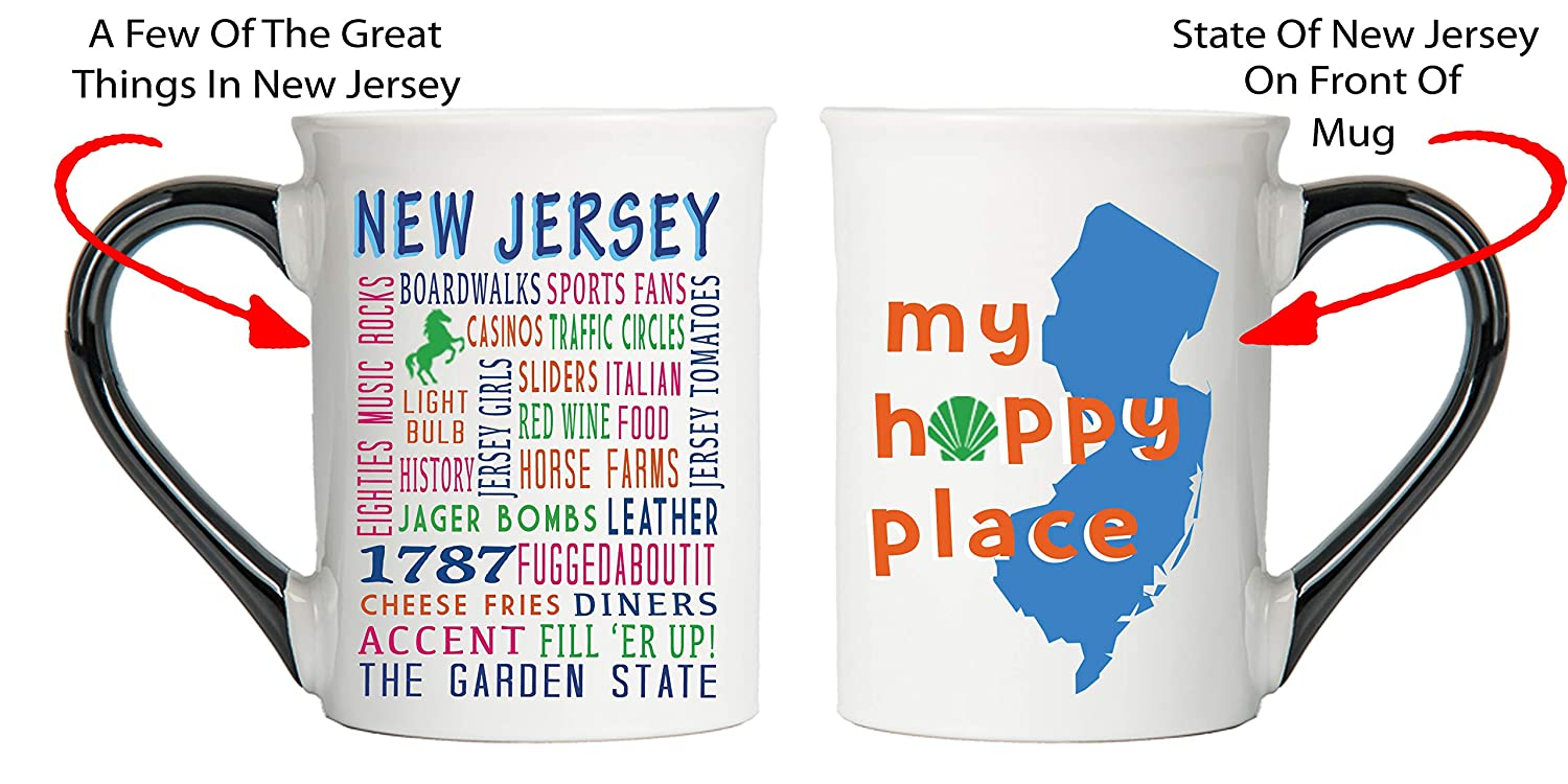 Cottage Creek My Happy Place New Jersey Mug New Jersey Large 18 Ounce Ceramic Coffee Mug With Black Handle New Jersey Gifts