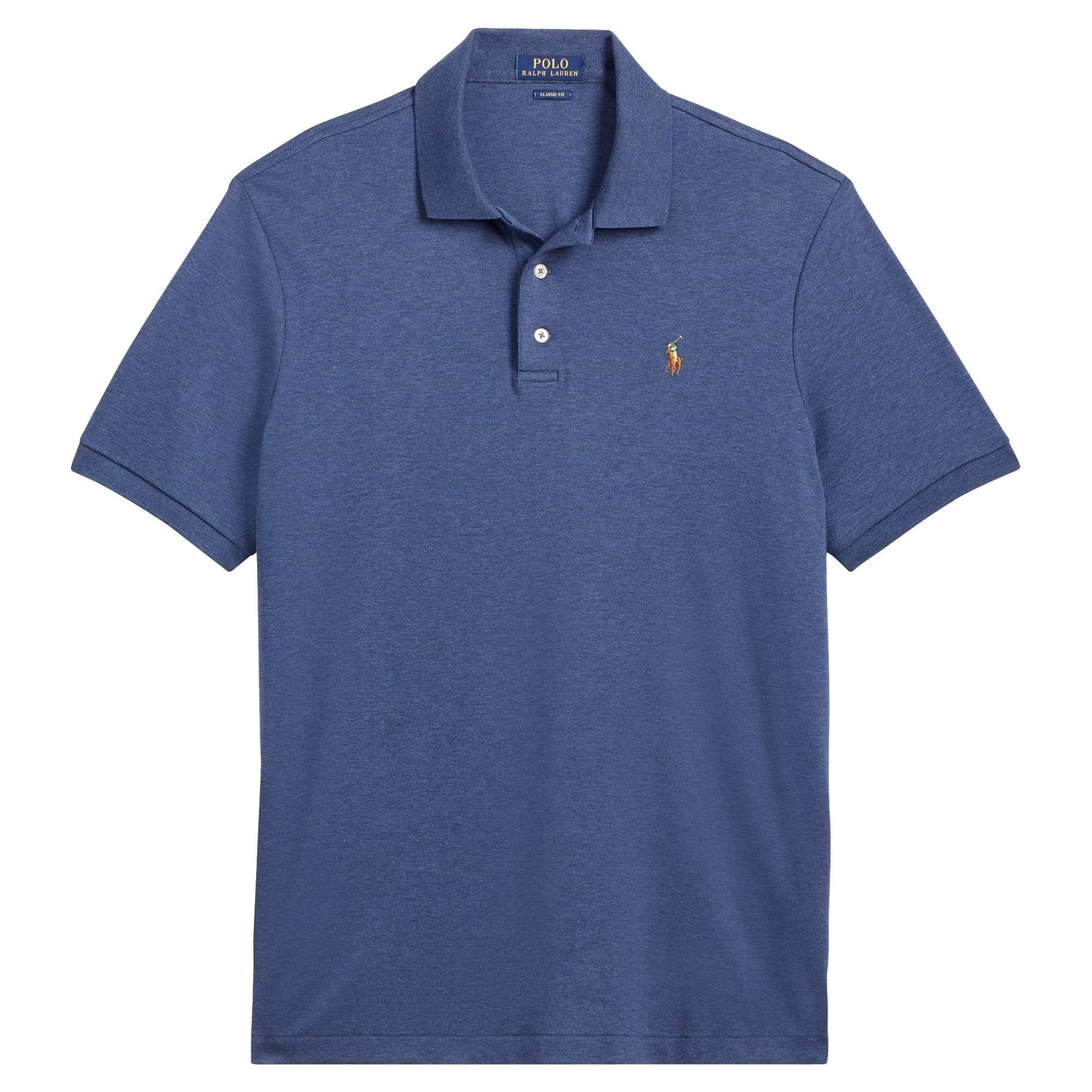 Ralph Lauren Big and Tall Soft-Touch Pima Cotton Polo Shirt Classic-Fit (3XLT, Rustic Navy Heather)