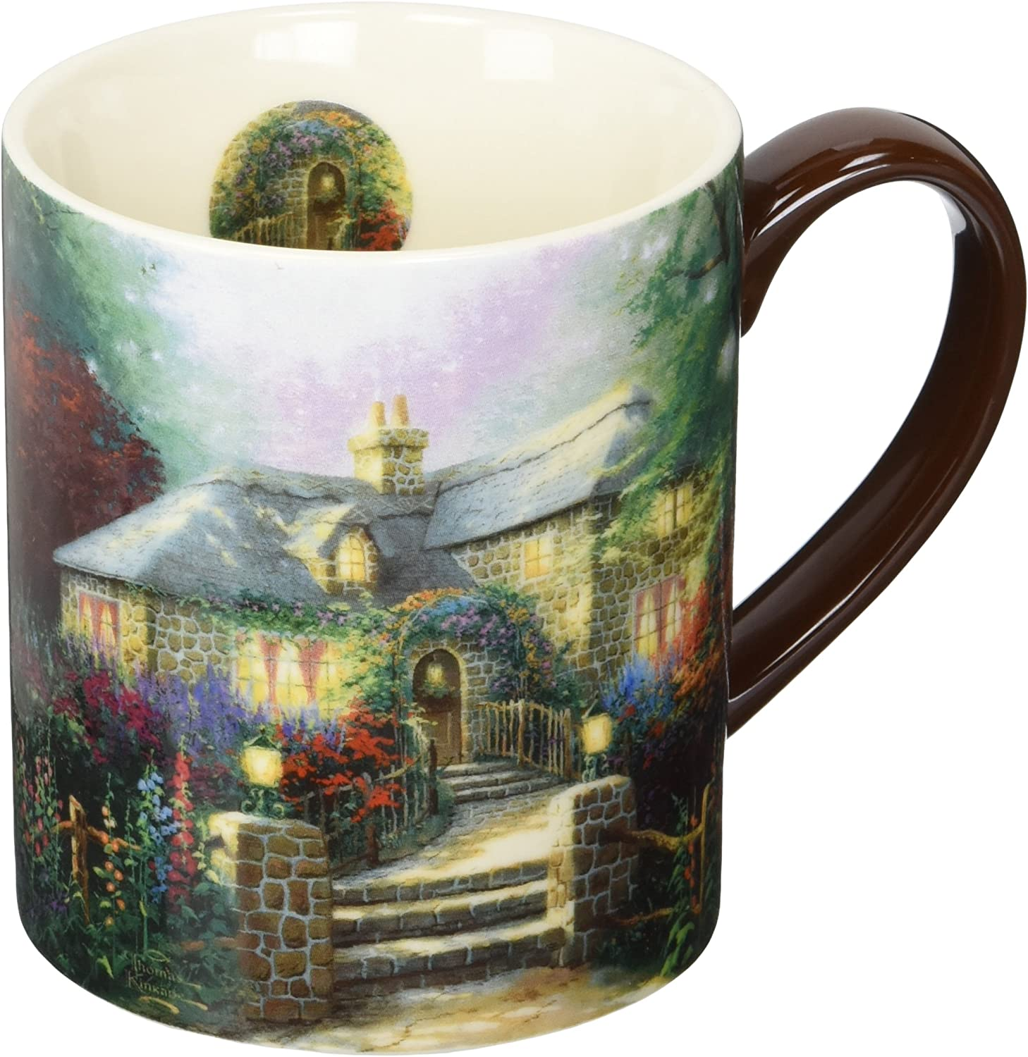 Lang Hollyhock House Mug by Thomas Kinkade, 14 oz, Multicolored