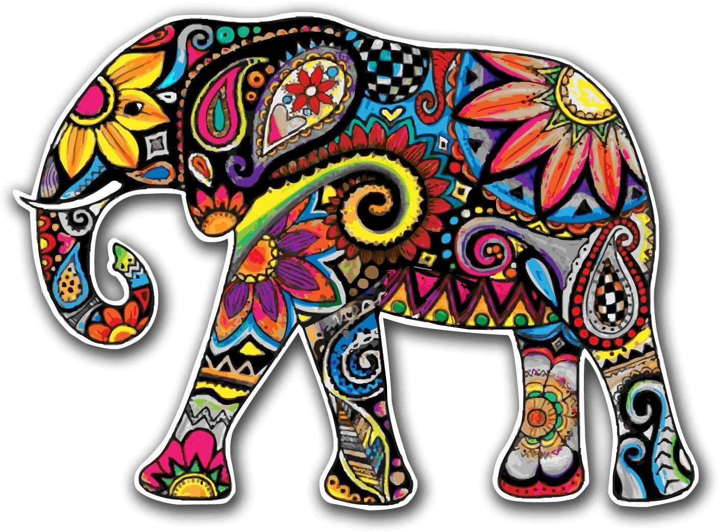 Color Pencil Paisley Elephant - 5 Inch Full Color Decal for Macbooks or Laptops - Proudly Made in The USA from Adhesive Vinyl