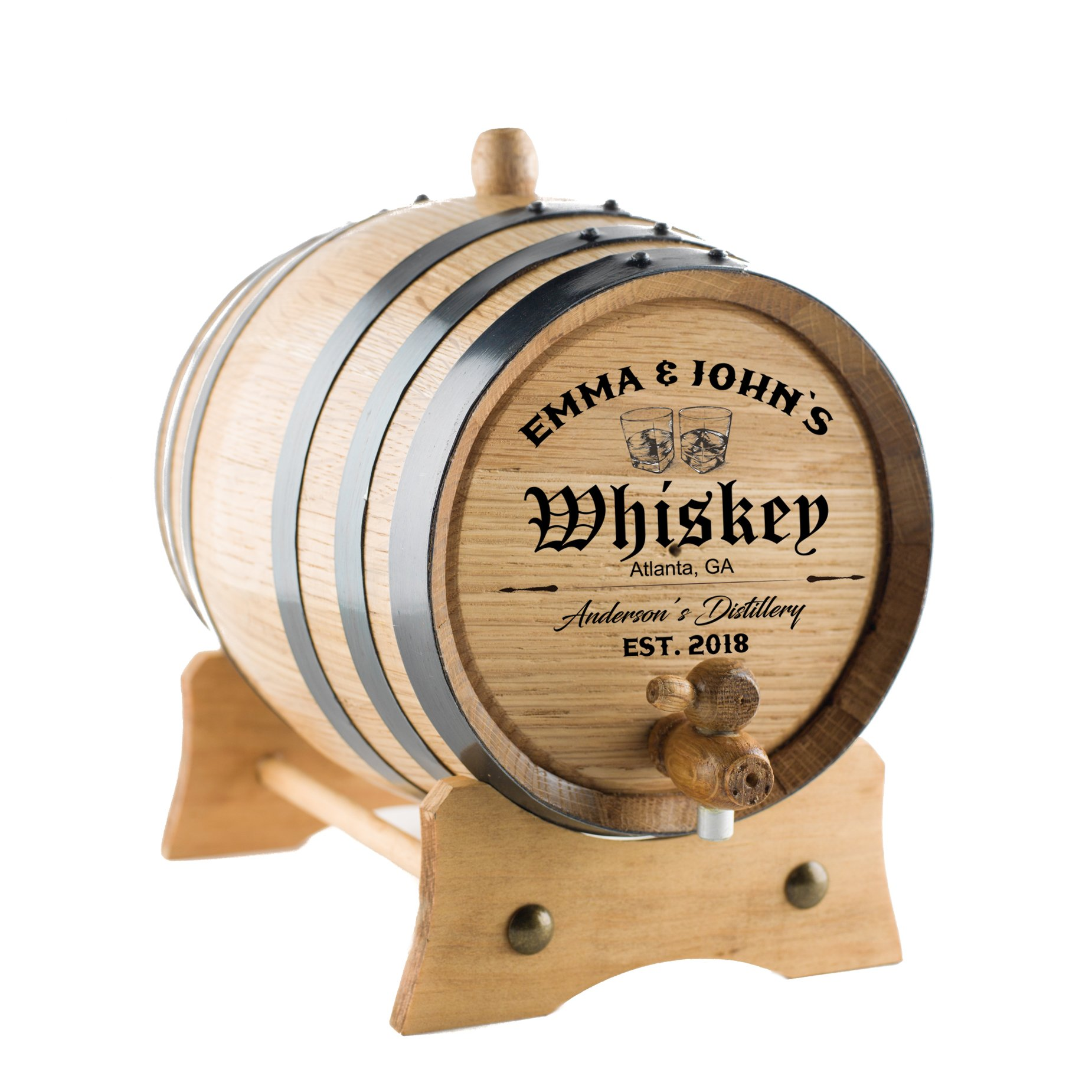 Personalized - Custom Engraved American Premium Oak Aging Barrel - Whiskey Barrel - Age your own Whiskey, Beer, Wine, Bourbon, Tequila, Rum, Hot Sauce & More | Barrel Aged (5 Liters)