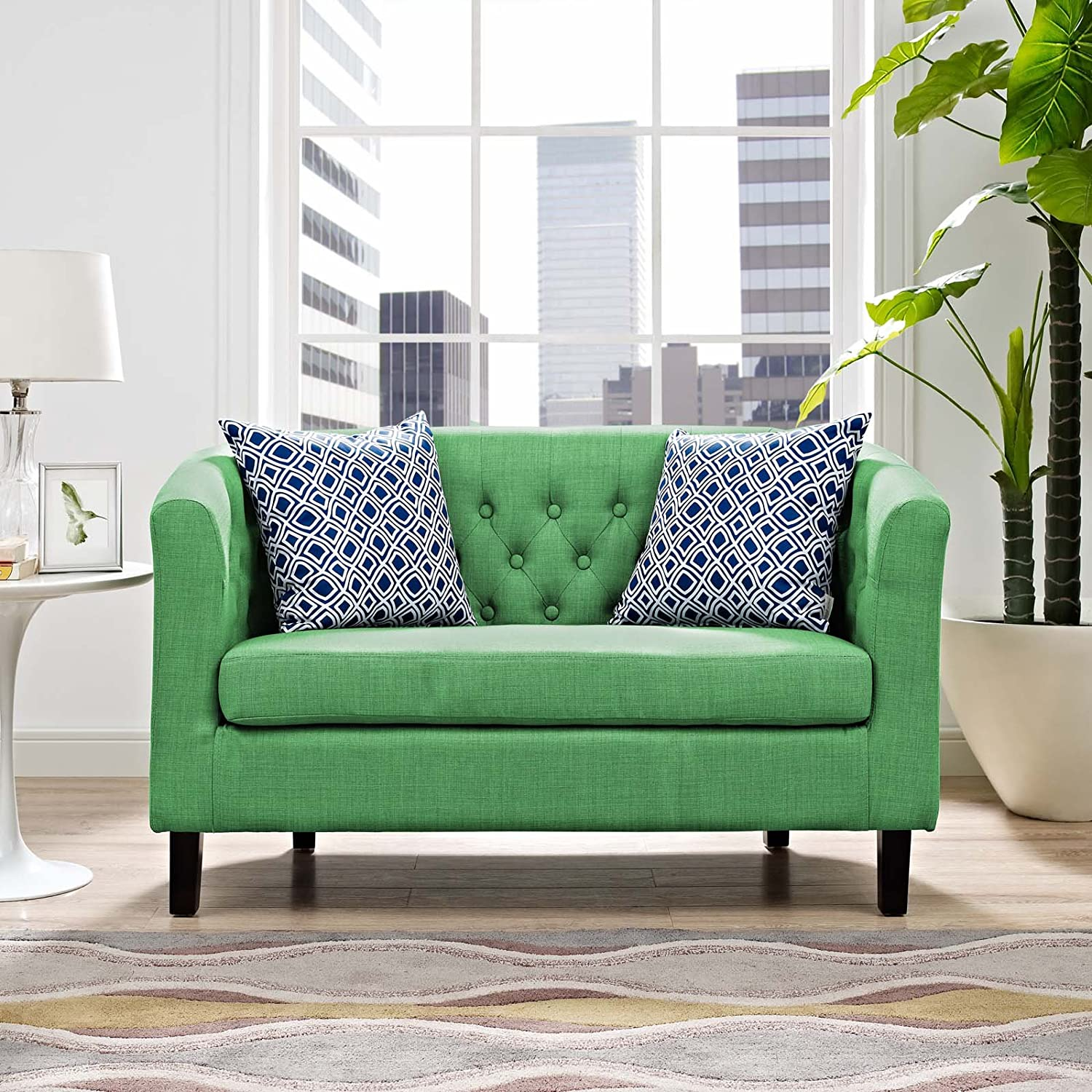 Modway Prospect Upholstered Fabric Contemporary Modern Accent Arm Chair in Teal