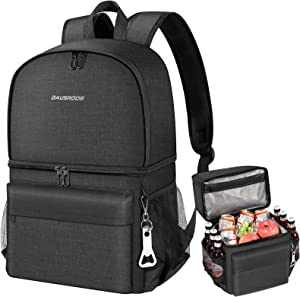 DAUSROOB Insulated Cooler Backpack Leakproof Double Deck Cooler Bag Lightweight Soft Lunch Backpack with Cooler Compartment for Men Women to Work Beach Travel Picnics Camping Hiking, 24 Cans
