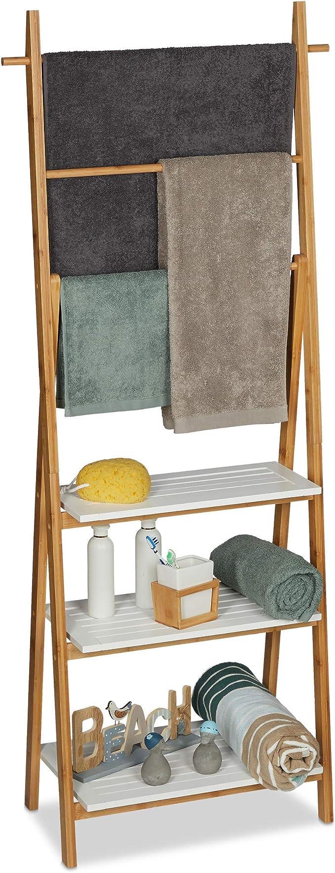Relaxdays, 150x50x30cm Toallero Baño con Estantería, Bambú-DM, Marrón-Blanco: Amazon.es: Hogar
