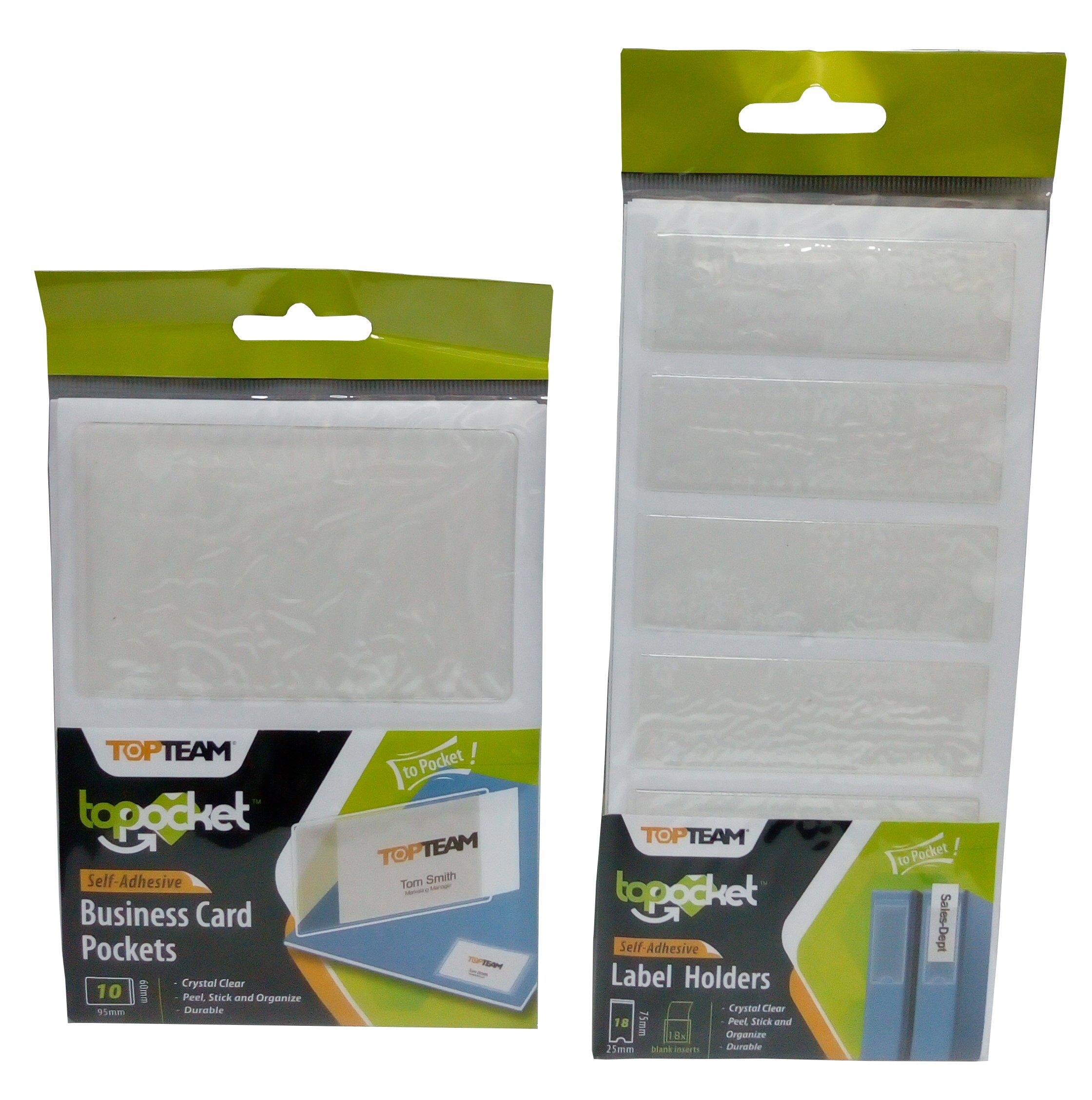 Self Adhesive Label & Name Card Holder Pockets, 2 Sizes, 28 piece Bundle