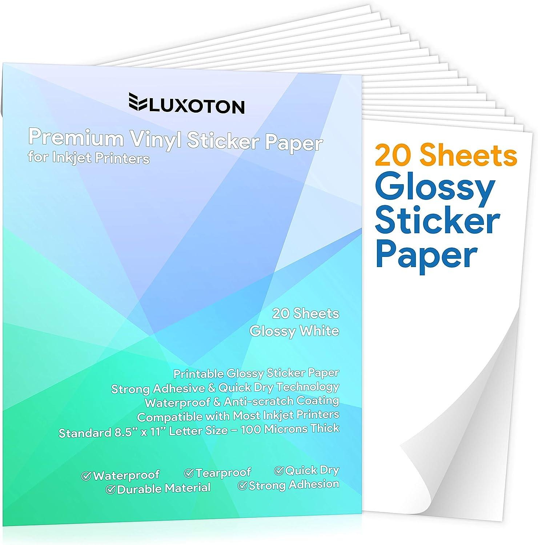 15 Sheets Sticker Paper MATTE WHITE STICKERS Inkjet OR Laser Printer FULL 8.5x11
