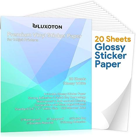20 hojas de papel adhesivo de vinilo para impresora de inyección ...