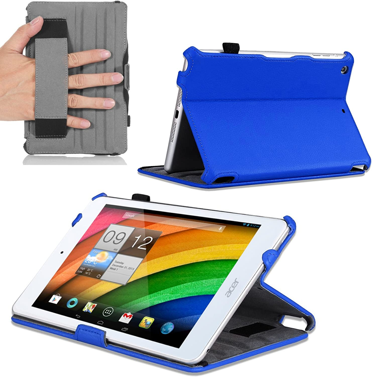 Navitech Blue Leather Hard Case/Cover with Automatic Sleep/Wake Compatible with The Acer Iconia A1 830