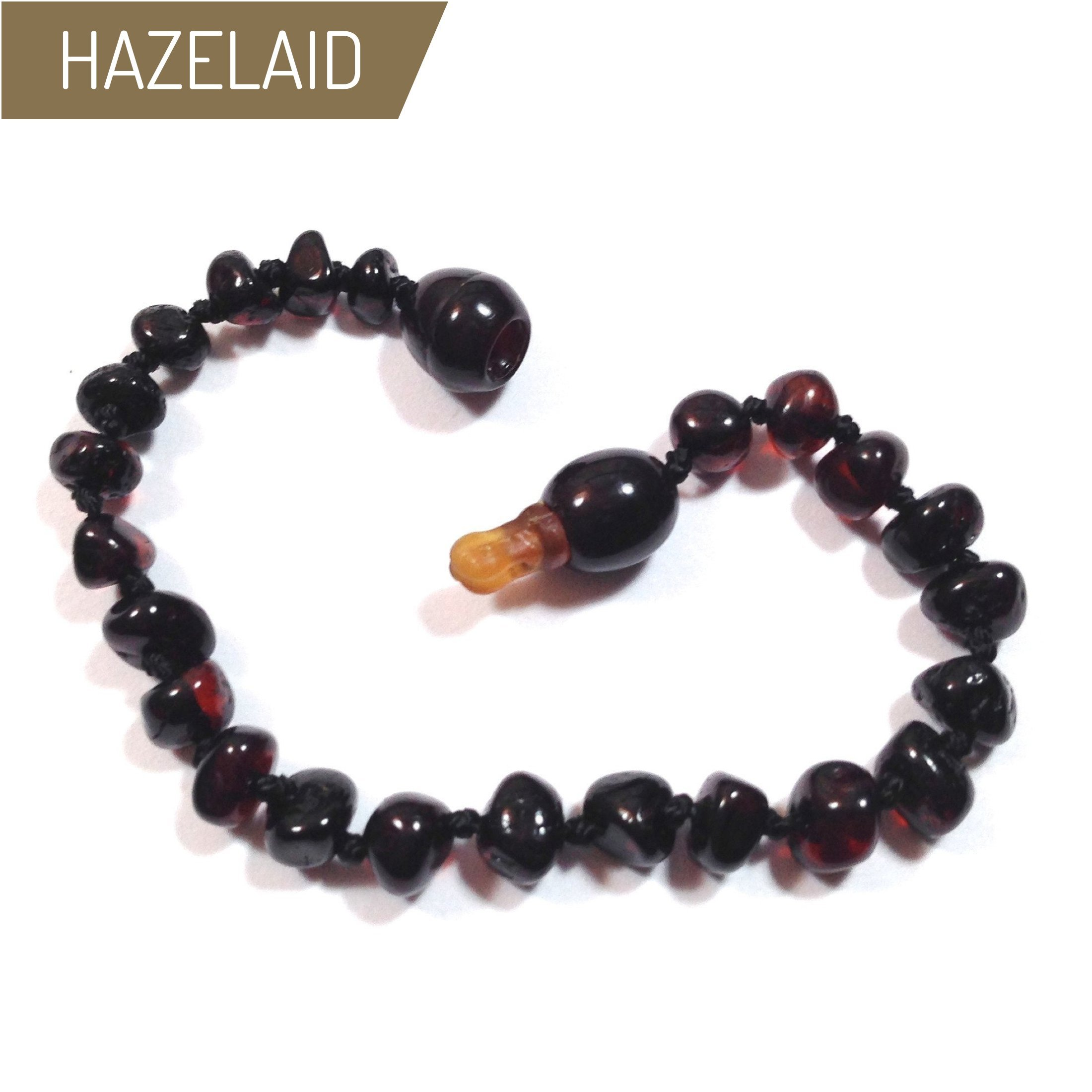 Hazelaid (TM) 5.5'' Pop-Clasp Baltic Amber Dark Cherry Bracelet