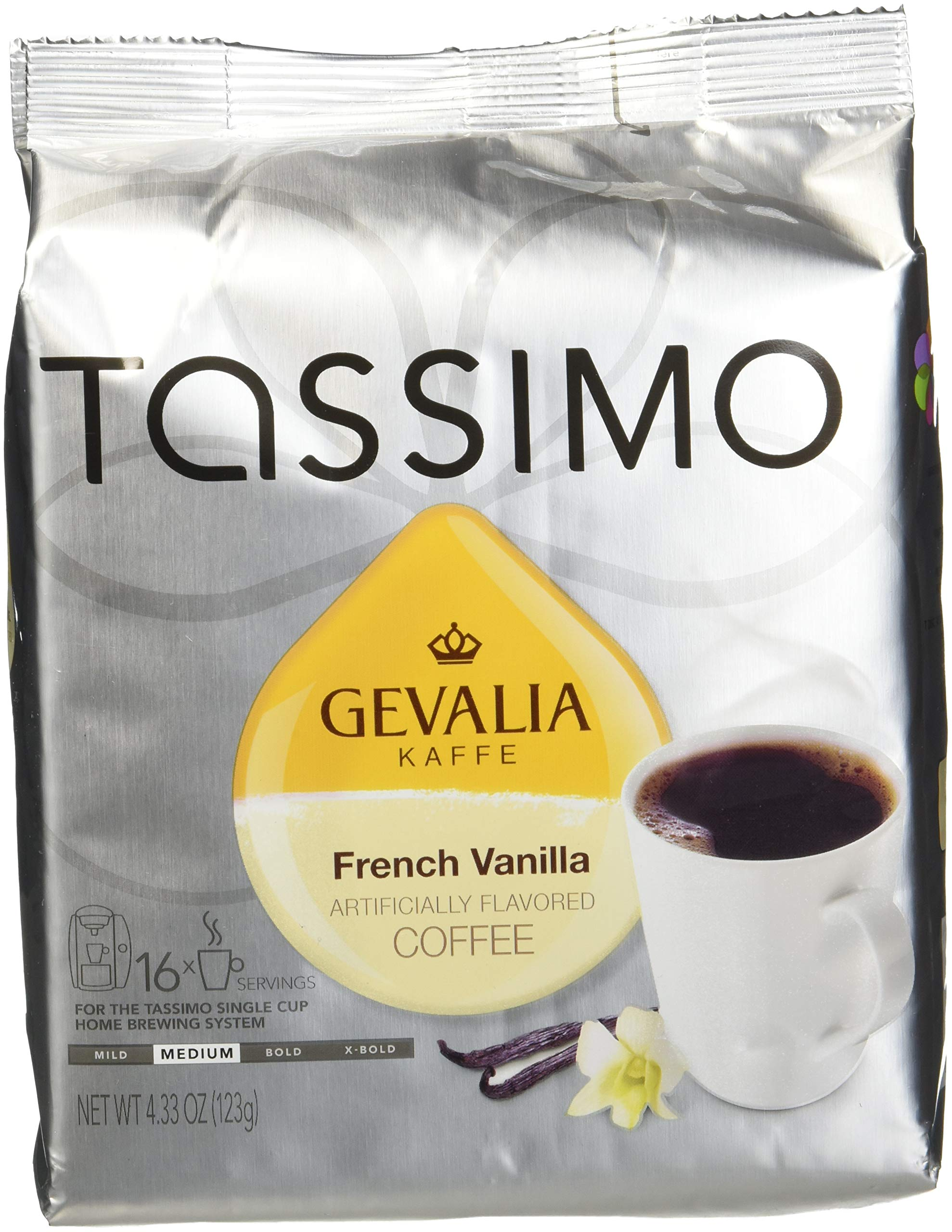 Tassimo T-Discs: Gevalia French Vanilla Coffee T-Disc Pods (Case of 5 packages; 80 T-Discs Total)