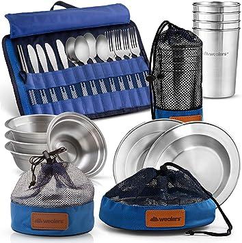 Wealers - Juego completo de platos de acero inoxidable pulido ...