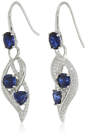 Sterling Silver Created Gemstone and White Sapphire Wave Dangle Earrings