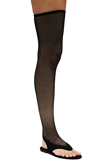 d26a3d5f8 Michelle Parker Cape ROOBIN ELLE-2 MESH Dark Rush Thigh HIGH Fishnet Fitted Thong  Sandals