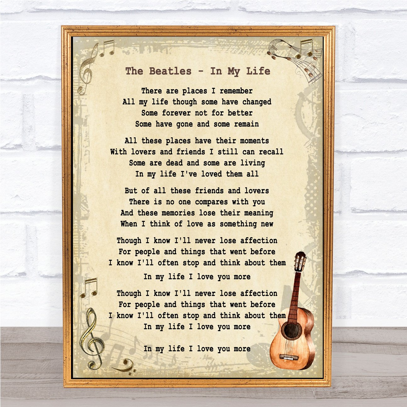 The One Vintage Heart Song Lyric Quote Print