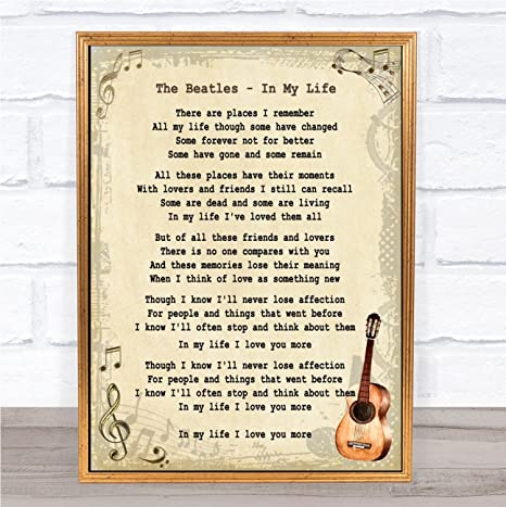 in My Life Song Lyric Vintage Quote Print