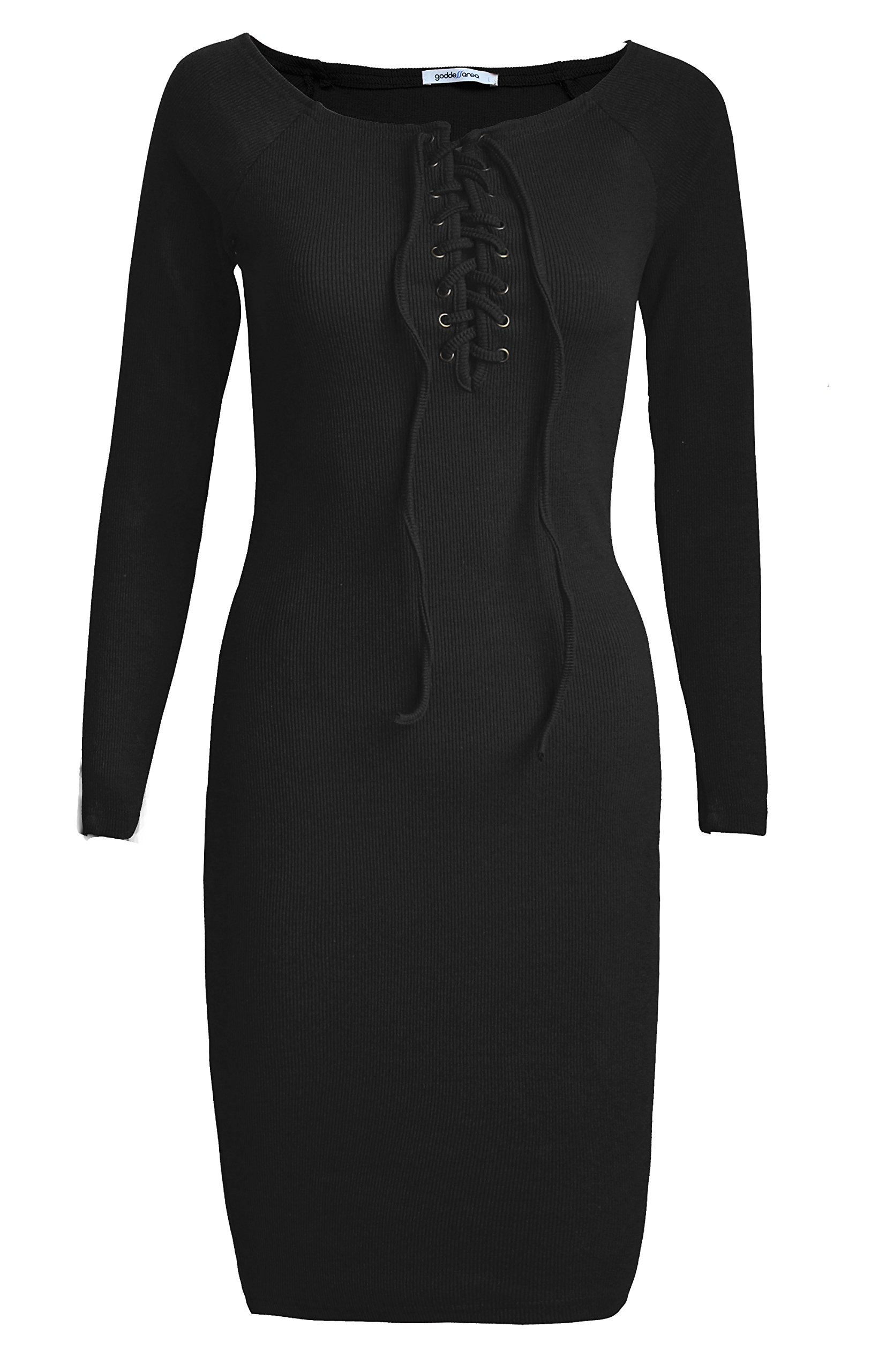 Goddess Area Women\'s Classic Slim Fit Long Sleeve Bodycon Midi Pencil Sweater Dress (A1, Black1)