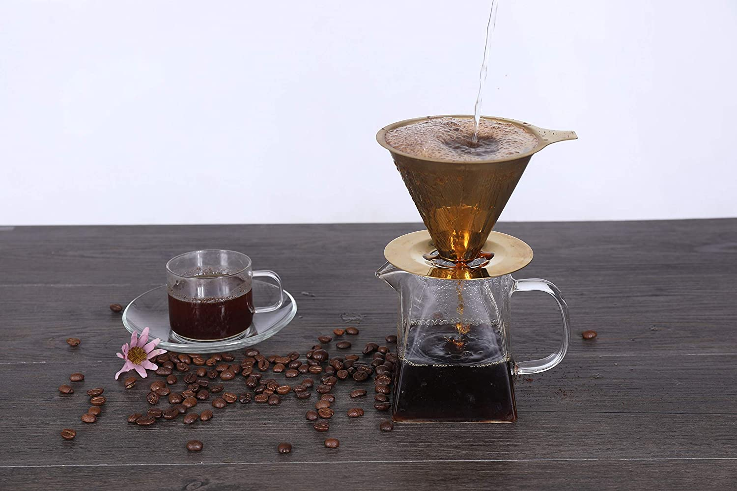 MJM COFFEE DRIPPER SET brush include Stainless Steel Gold Coffee Drip Cone Coffee Filter Funnel Cone Pour Over Coffee Dripper Pour Over Coffee Maker Reusable Coffee mesh Spoon clip