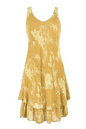 6172e4120f TEXTURE Ladies Womens Lagenlook Sleeveless V Neck Floral Layered Midi Dress  One Size (Mustard